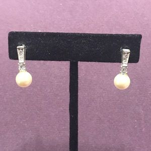 Faux pearl and bling post earrings.  3/$12 Sale